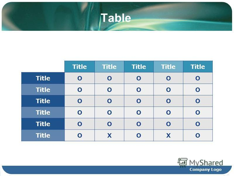 Company Logo Table Title OOOOO OOOOO OOOOO OOOOO OOOOO OXOXO