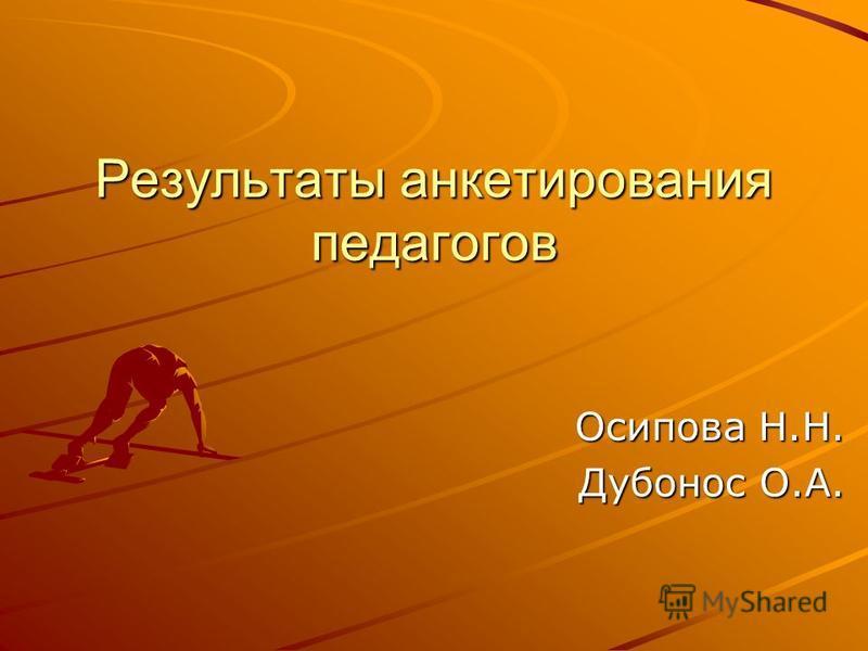 Результаты анкетирования педагогов Осипова Н.Н. Дубонос О.А.