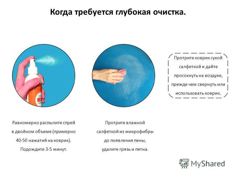 Когда требуется глубокая очистка. Равномерно распылите спрей в двойном объеме (примерно 40-50 нажатий на коврик). Подождите 3-5 минут. Протрите влажной салфеткой из микрофибры до появления пены, удалите грязь и пятна. Протрите коврик сухой салфеткой