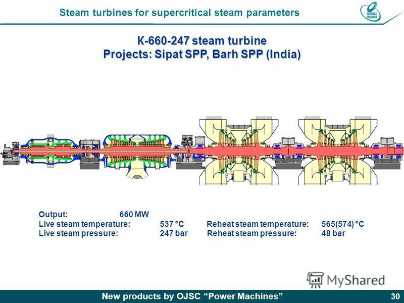 New products by OJSC Power Machines 30 К-660-247 steam turbine Projects: Sipat SPP, Barh SPP (India) Output: 660 MW Live steam temperature: 537 °C Reheat steam temperature:565(574) °C Live steam pressure: 247 bar Reheat steam pressure: 48 bar Steam t