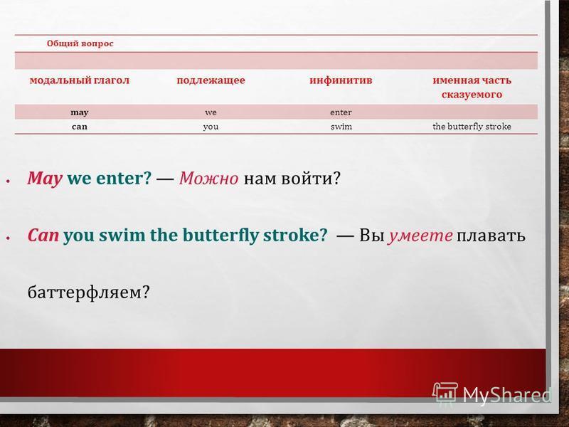 Общий вопрос модальный глагол подлежащее инфинитив именная часть сказуемого mayweenter canyouswimthe butterfly stroke May we enter? Можно нам войти? Can you swim the butterfly stroke? Вы умеете плавать баттерфляем?