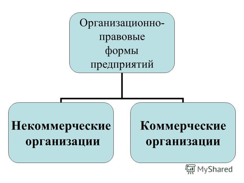 Организационно- правовые формы предприятий Некоммерческие организации Коммерческие организации
