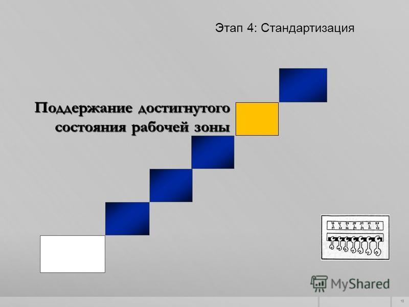 18 Поддержание достигнутого состояния рабочей зоны Этап 4: Стандартизация