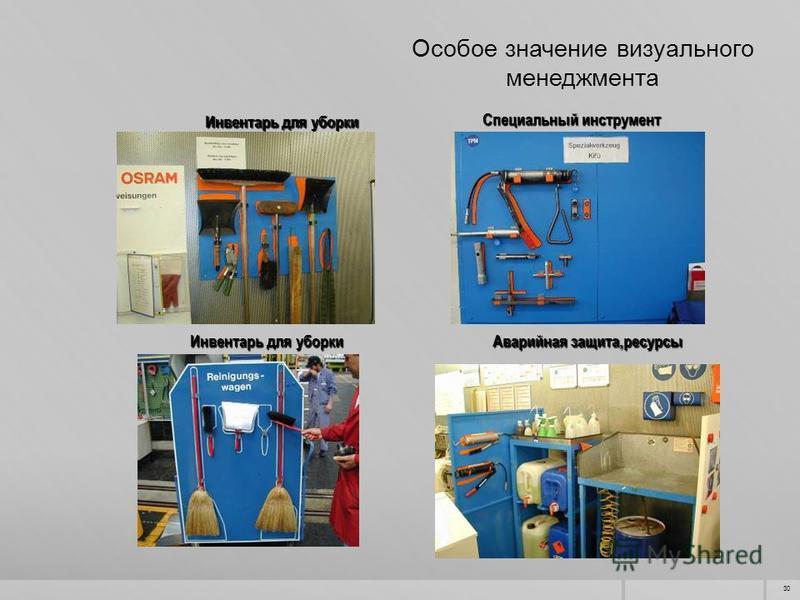 30 Инвентарь для уборки Специальный инструмент Инвентарь для уборки Аварийная защита,ресурсы Особое значение визуального менеджмента