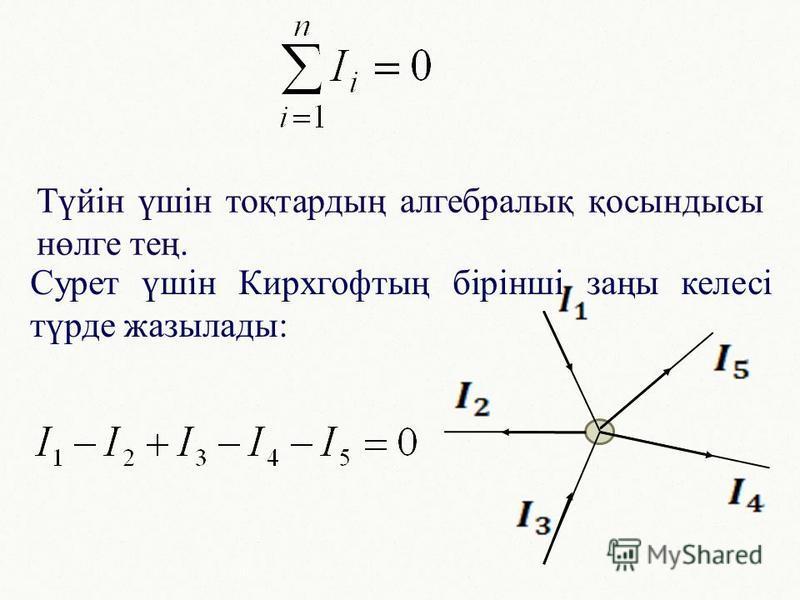 Түйін үшін тоқтардың алгебралық қосындысы нөлге тең. Сурет үшін Кирхгофтың бірінші заңы келесі түрде жазылады: