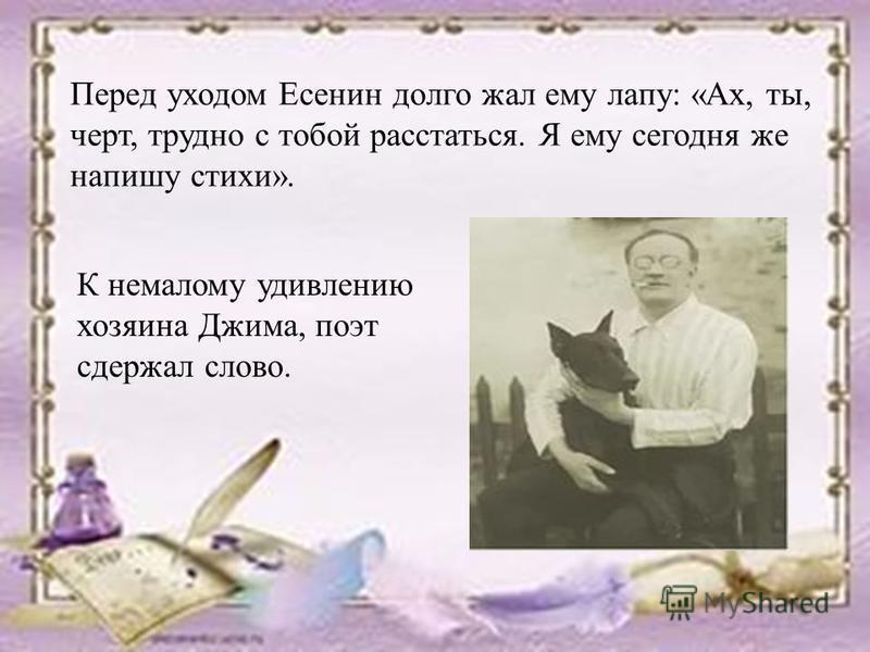 Перед уходом Есенин долго жал ему лапу: «Ах, ты, черт, трудно с тобой расстаться. Я ему сегодня же напишу стихи». К немалому удивлению хозяина Джима, поэт сдержал слово.