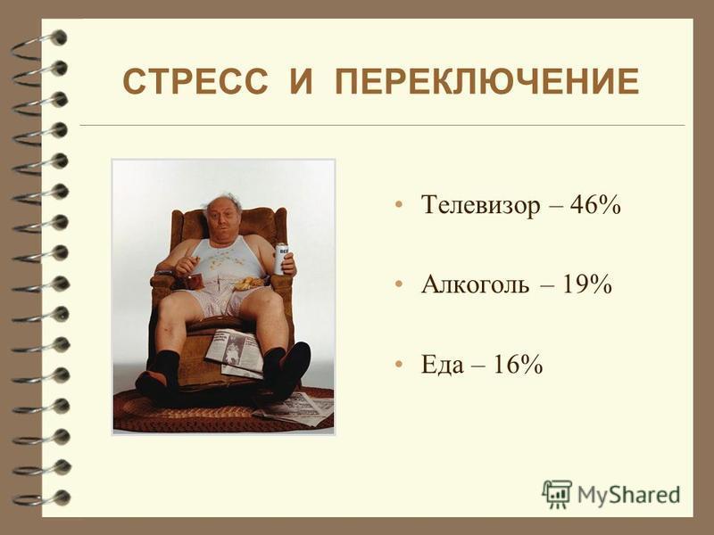 СТРЕСС И ПЕРЕКЛЮЧЕНИЕ Телевизор – 46% Алкоголь – 19% Еда – 16%
