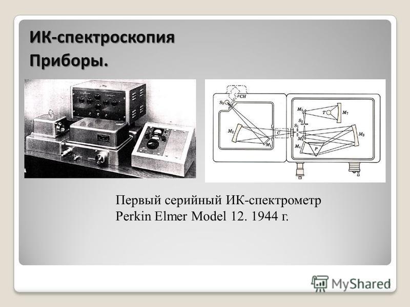 9 Первый серийный ИК-спектрометр Perkin Elmer Model 12. 1944 г. ИК-спектроскопия Приборы.