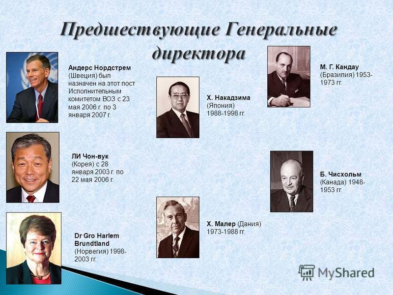 Андерс Нордстрем (Швеция) был назначен на этот пост Исполнительным комитетом ВОЗ с 23 мая 2006 г. по 3 января 2007 г. ЛИ Чон-в ук (Корея) с 28 января 2003 г. по 22 мая 2006 г. Dr Gro Harlem Brundtland (Норвегия) 1998- 2003 гг. Х. Накадзима (Япония) 1