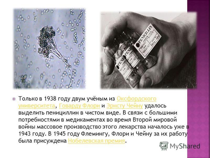 Только в 1938 году двум учёным из Оксфордского университета, Говарду Флори и Эрнсту Чейну удалось выделить пенициллин в чистом виде. В связи с большими потребностями в медикаментах во время Второй мировой войны массовое производство этого лекарства н