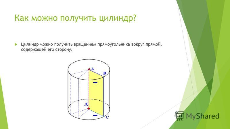 Как можно получить цилиндр? Цилиндр можно получить вращением прямоугольника вокруг прямой, содержащей его сторону.