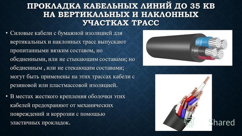 ПРОКЛАДКА КАБЕЛЬНЫХ ЛИНИЙ ДО 35 КВ НА ВЕРТИКАЛЬНЫХ И НАКЛОННЫХ УЧАСТКАХ ТРАСС Силовые кабели с бумажной изоляцией для вертикальных и наклонных трасс выпускают пропитанными вязким составом, но обедненными, или не стыкающим составами ; но обедненным, и