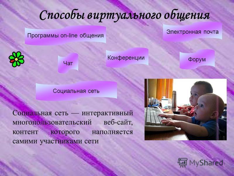 Способы виртуального общения Социальная сеть интерактивный многопользовательский веб-сайт, контент которого наполняется самими участниками сети Программы on-line общения Конференции Чат Электронная почта Форум Социальная сеть