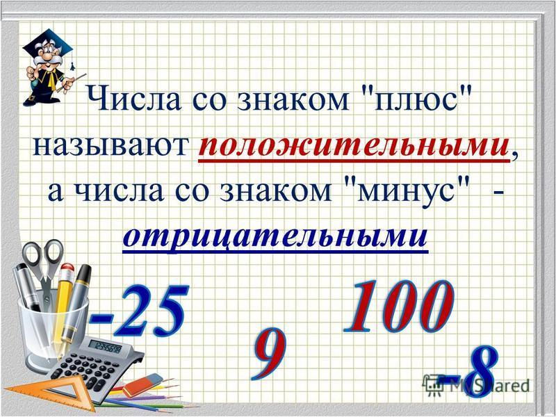 Числа со знаком плюс называют положительными, а числа со знаком минус - отрицательными