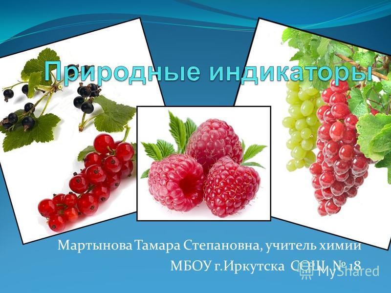 Мартынова Тамара Степановна, учитель химии МБОУ г.Иркутска СОШ 18