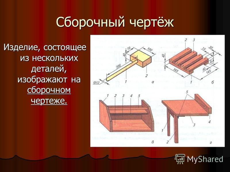 Сборочный чертёж Изделие, состоящее из нескольких деталей, изображают на сборочном чертеже.
