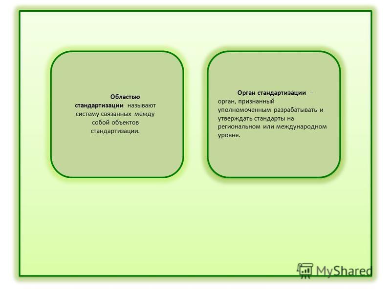 Областью стандартизации называют систему связанных между собой объектов стандартизации. Орган стандартизации – орган, признанный уполномоченным разрабатывать и утверждать стандарты на региональном или международном уровне.