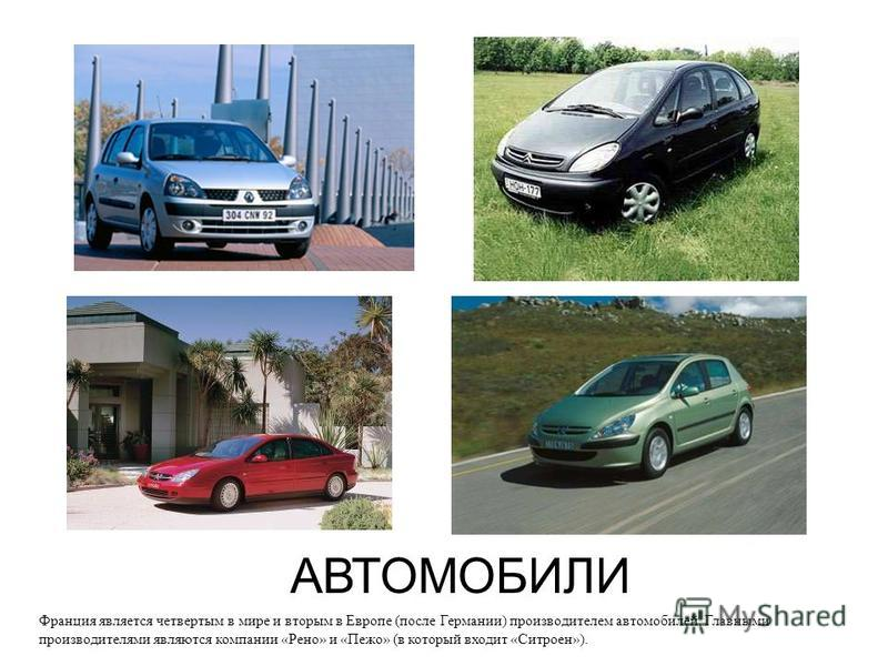 АВТОМОБИЛИ Франция является четвертым в мире и вторым в Европе (после Германии) производителем автомобилей. Главными производителями являются компании «Рено» и «Пежо» (в который входит «Ситроен»).