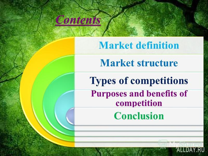 Contents Market definition Market structure Types of competitions Purposes and benefits of competition Conclusion