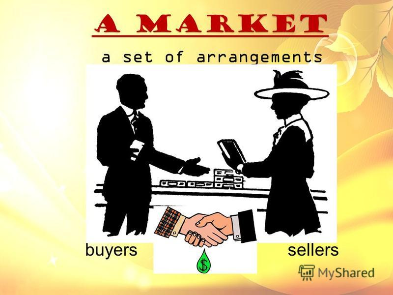 a MARKET a MARKET a set of arrangements buyers and sellers