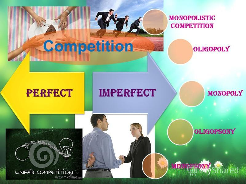 Competition perfectimperfect Monopolistic competition Oligopoly Oligopsony Monopsony Monopoly
