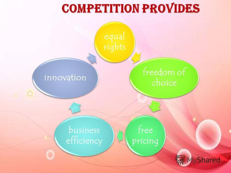 Competition provides equal rights freedom of choice free pricing business efficiency innovation