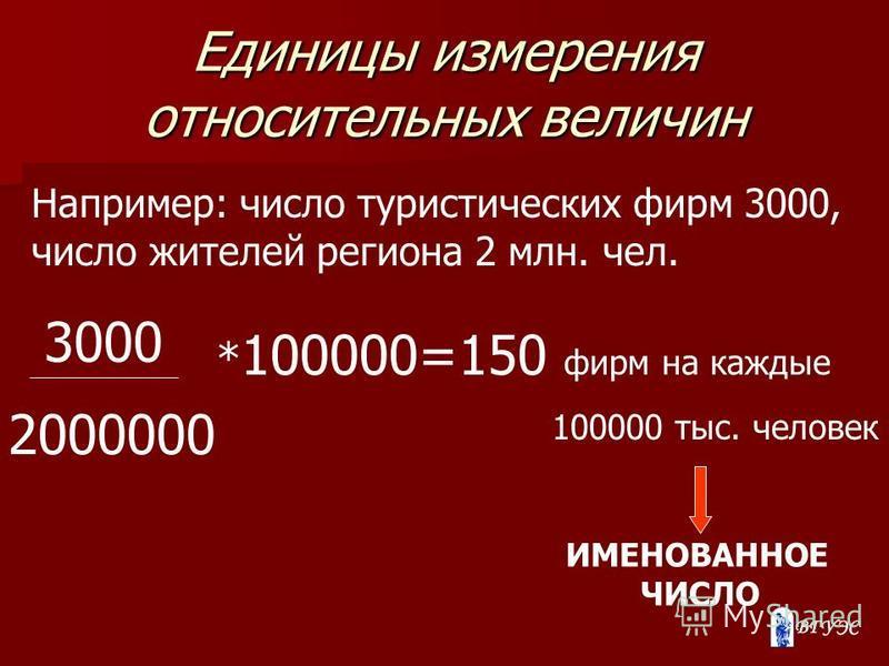 Единицы измерения относительных величин Например: число туристических фирм 3000, число жителей региона 2 млн. чел. 3000 2000000 * 100000=150 фирм на каждые 100000 тыс. человек ИМЕНОВАННОЕ ЧИСЛО