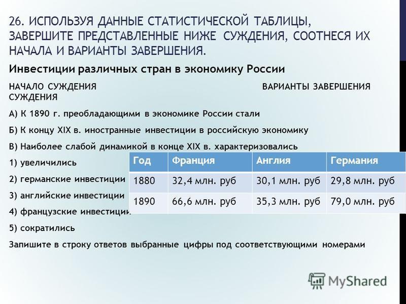 26. ИСПОЛЬЗУЯ ДАННЫЕ СТАТИСТИЧЕСКОЙ ТАБЛИЦЫ, ЗАВЕРШИТЕ ПРЕДСТАВЛЕННЫЕ НИЖЕ СУЖДЕНИЯ, СООТНЕСЯ ИХ НАЧАЛА И ВАРИАНТЫ ЗАВЕРШЕНИЯ. Инвестиции различных стран в экономику России НАЧАЛО СУЖДЕНИЯ ВАРИАНТЫ ЗАВЕРШЕНИЯ СУЖДЕНИЯ А) К 1890 г. преобладающими в эк
