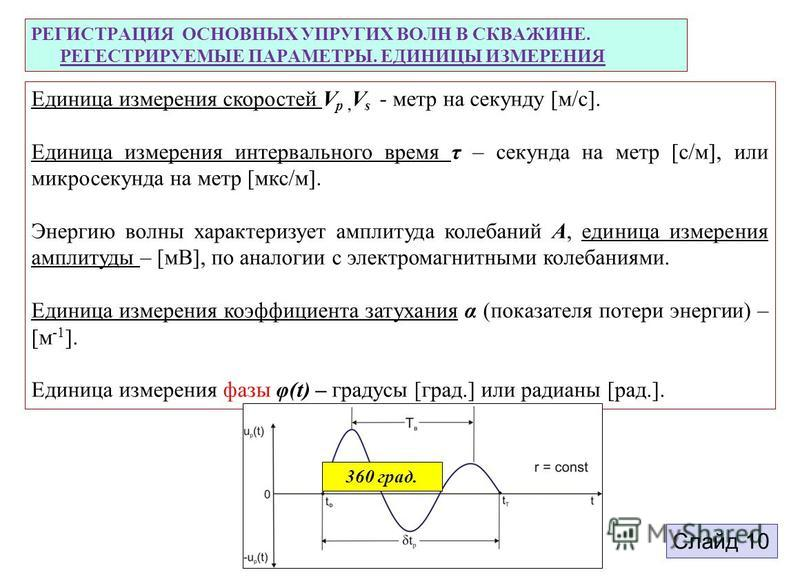 РЕГИСТРАЦИЯ ОСНОВНЫХ УПРУГИХ ВОЛН В СКВАЖИНЕ. РЕГЕСТРИРУЕМЫЕ ПАРАМЕТРЫ. ЕДИНИЦЫ ИЗМЕРЕНИЯ Единица измерения скоростей V р, V s - метр на секунду [м/c]. Единица измерения интервального время τ – секунда на метр [c/м], или микросекунда на метр [мкс/м].