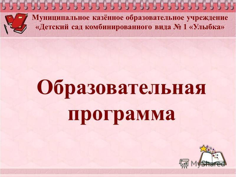 Муниципальное казённое образовательное учреждение «Детский сад комбинированного вида 1 «Улыбка» Образовательная программа