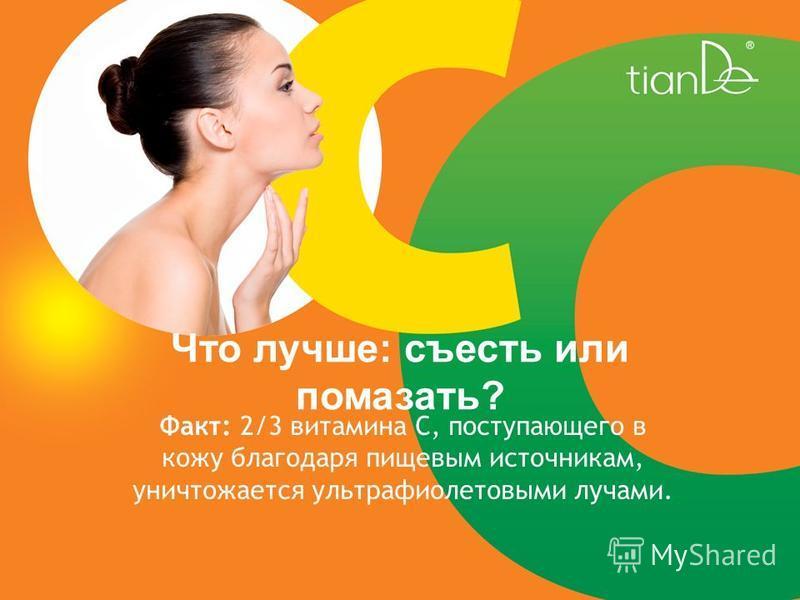 Что лучше: съесть или помазать? Факт: 2/3 витамина С, поступающего в кожу благодаря пищевым источникам, уничтожается ультрафиолетовыми лучами.