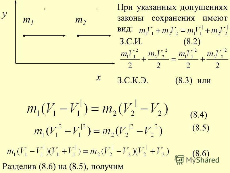 m 2 m 1 11 x y При указанных допущениях законы сохранения имеют вид: З.С.И. (8.2) З.С.К.Э. (8.3) или (8.4) (8.5) (8.6) Разделив (8.6) на (8.5), получим