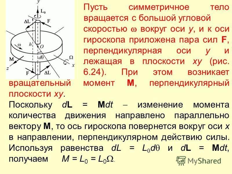 Пусть симметричное тело вращается с большой угловой скоростью вокруг оси y, и к оси гироскопа приложена пара сил F, перпендикулярная оси y и лежащая в плоскости xy (рис. 6.24). При этом возникает вращательный момент M, перпендикулярный плоскости xy.