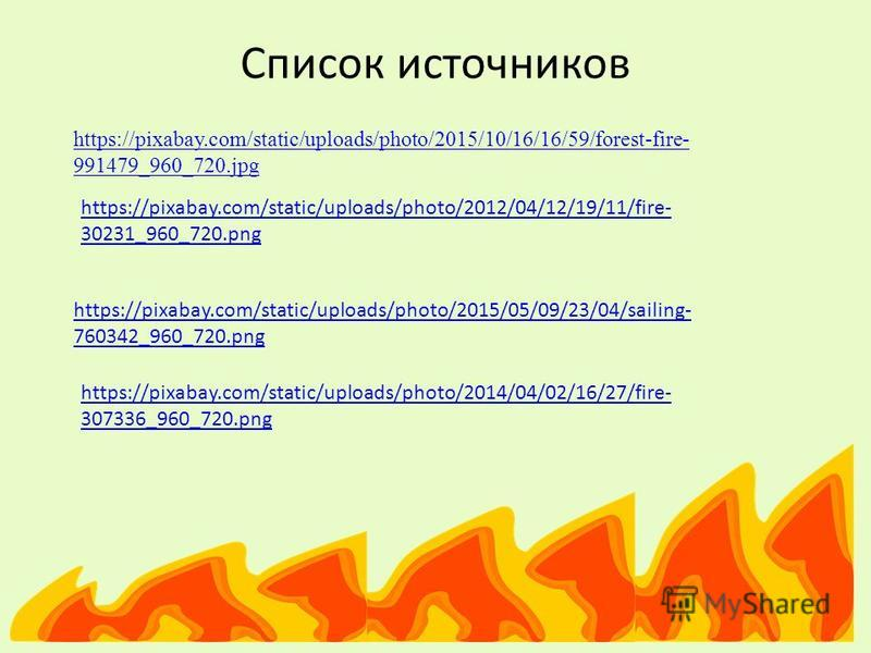 Список источников https://pixabay.com/static/uploads/photo/2015/10/16/16/59/forest-fire- 991479_960_720.jpg https://pixabay.com/static/uploads/photo/2012/04/12/19/11/fire- 30231_960_720.png https://pixabay.com/static/uploads/photo/2015/05/09/23/04/sa