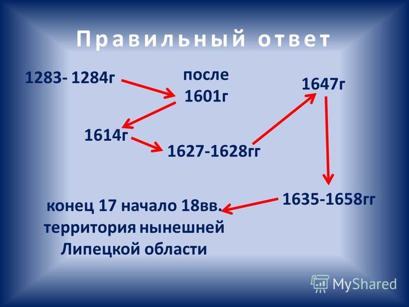 Правильный ответ 1283- 1284 г после 1601 г 1614 г 1627-1628 гг 1647 г 1635-1658 гг конец 17 начало 18 вв. территория нынешней Липецкой области