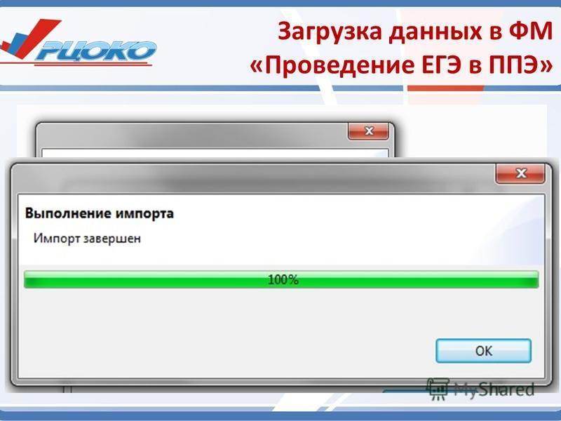 Загрузка данных в ФМ «Проведение ЕГЭ в ППЭ» Загружаемый файл импорта должен иметь наименование следующего вида: «27_PPE_0000_Export_From_27_ExamDate_00.00.0000_v7_00_0_0_0000.zip», где: 27 – код региона; PPE_0000 – код ППЭ, для которого предназначен