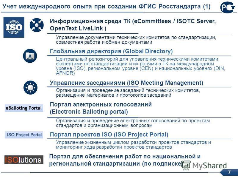 7 Учет международного опыта при создании ФГИС Росстандарта (1) Глобальная директория (Global Directory) Центральный репозиторий для управления техническими комитетами, экспертами по стандартизации и их ролями в ТК на международном уровне (ISO), регио