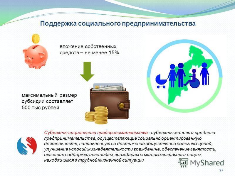 27 Поддержка социального предпринимательства вложение собственных средств – не менее 15% Субъекты социального предпринимательства - субъекты малого и среднего предпринимательства, осуществляющие социально ориентированную деятельность, направленную на