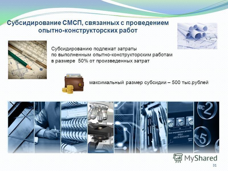 31 Субсидирование СМСП, связанных с проведением опытно-конструкторских работ Субсидированию подлежат затраты по выполненным опытно-конструкторским работам в размере 50% от произведенных затрат максимальный размер субсидии – 500 тыс.рублей