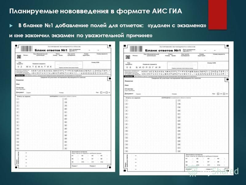 Планируемые нововведения в формате АИС ГИА В бланке 1 добавление полей для отметок: «удален с экзамена» и «не закончил экзамен по уважительной причине»