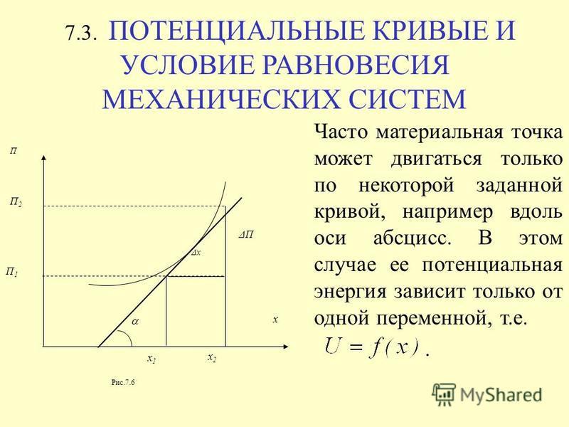 7.3. ПОТЕНЦИАЛЬНЫЕ КРИВЫЕ И УСЛОВИЕ РАВНОВЕСИЯ МЕХАНИЧЕСКИХ СИСТЕМ x2x2 x x1x1 Δx ΔП П П2П2 П1П1 Рис.7.6 Часто материальная точка может двигаться только по некоторой заданной кривой, например вдоль оси абсцисс. В этом случае ее потенциальная энергия