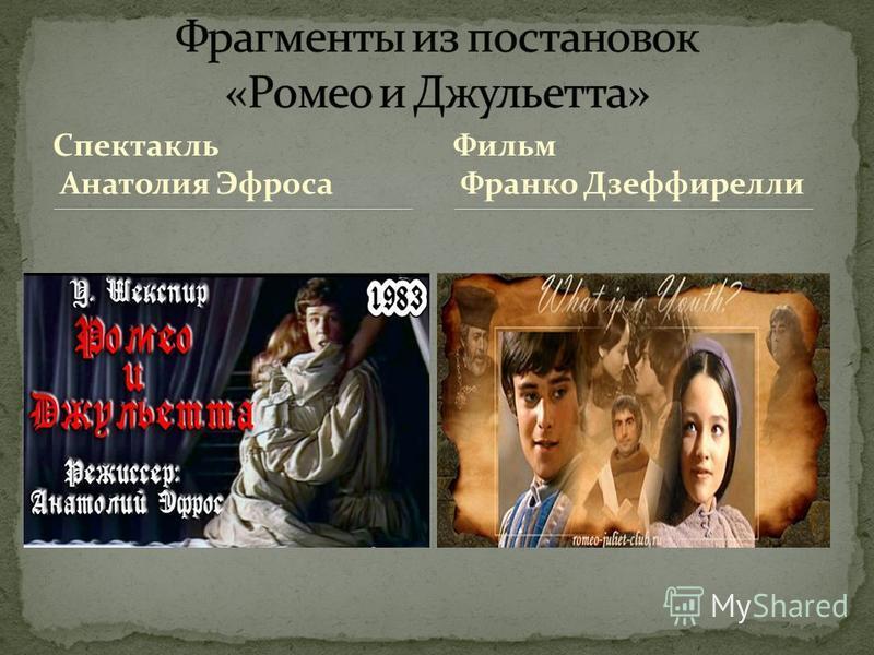 Спектакль Анатолия Эфроса Фильм Франко Дзеффирелли