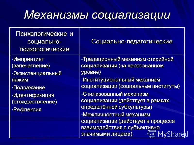 Механизмы социализации Психологические и социально- психологические Социально-педагогические Импринтинг (запечатление) Импринтинг (запечатление) Экзистенциальный нажим Экзистенциальный нажим Подражание Подражание Идентификация (отождествление) Иденти