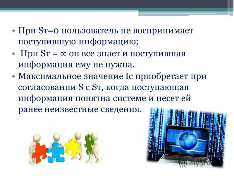 При Sт=0 пользователь не воспринимает поступившую информацию; При Sт = он все знает и поступившая информация ему не нужна. Максимальное значение Iс приобретает при согласовании S css т, когда поступающая информация понятна системе и несет ей ранее не