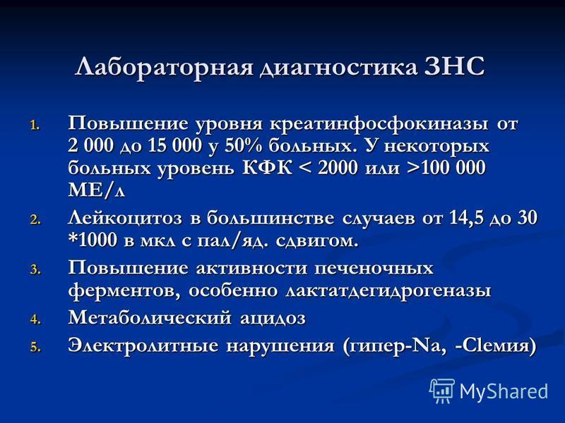 Лабораторная диагностика ЗНС 1. Повышение уровня креатинфосфокиназы от 2 000 до 15 000 у 50% больных. У некоторых больных уровень КФК 100 000 МЕ/л 2. Лейкоцитоз в большинстве случаев от 14,5 до 30 *1000 в мкл с пал/яд. сдвигом. 3. Повышение активност