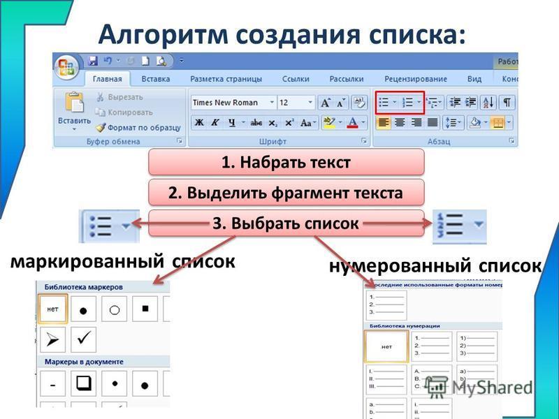 Алгоритм создания списка: маркированный список нумерованный список 2. Выделить фрагмент текста 3. Выбрать список 1. Набрать текст