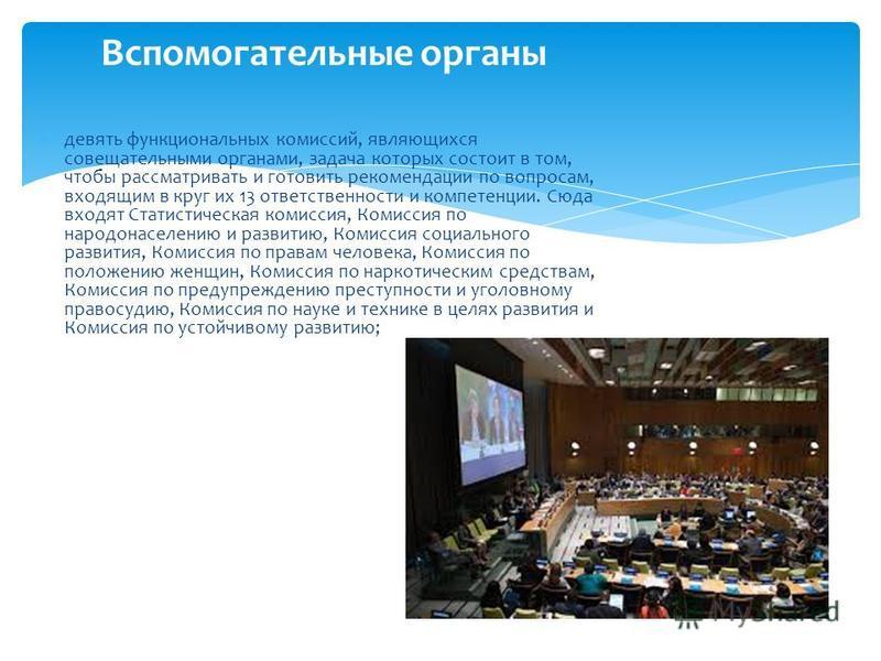 девять функциональных комиссий, являющихся совещательными органами, задача которых состоит в том, чтобы рассматривать и готовить рекомендации по вопросам, входящим в круг их 13 ответственности и компетенции. Сюда входят Статистическая комиссия, Комис