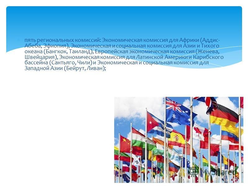 пять региональных комиссий: Экономическая комиссия для Африки (Аддис- Абеба, Эфиопия), Экономическая и социальная комиссия для Азии и Тихого океана (Бангкок, Таиланд), Европейская экономическая комиссия (Женева, Швейцария), Экономическая комиссия для