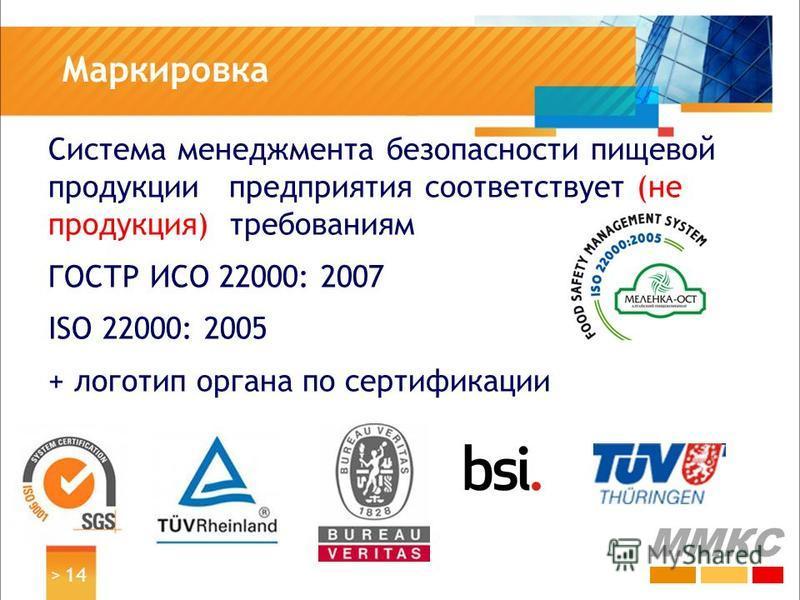 Маркировка Система менеджмента безопасности пищевой продукции предприятия соответствует (не продукция) требованиям ГОСТР ИСО 22000: 2007 ISO 22000: 2005 + логотип органа по сертификации > 14 ММКС