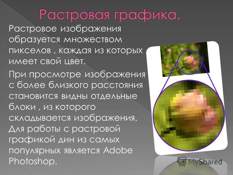 Растровое изображения образуется множеством пикселов, каждая из которых имеет свой цвет. При просмотре изображения с более близкого расстояния становится видны отдельные блоки, из которого складывается изображения. Для работы с растровой графикой дин